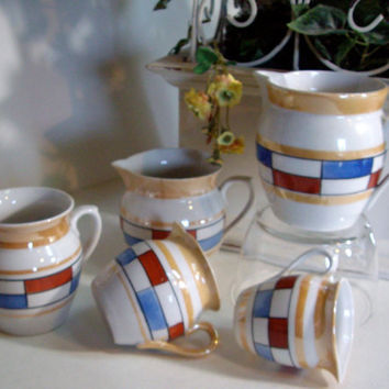 Vintage creamer pitcher set Czechoslovakia Mod design 1970s five two free