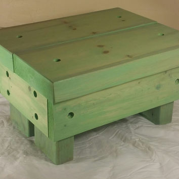 Rustic Step Stool, wooden, handmade  (Antique Jade)