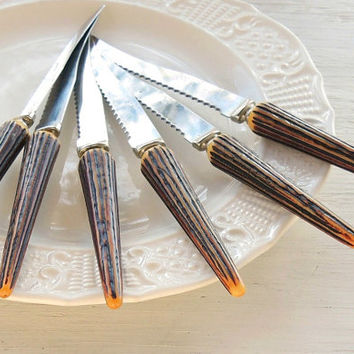 On Sale Mid Century Faux Stag Horn Bakelite Steak Knives Set of 6, Flatware, Vintage Serving, Rustic Modern