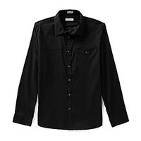 Calvin Klein Long-Sleeve Twill Dotted Dobby Woven Shirt - Black