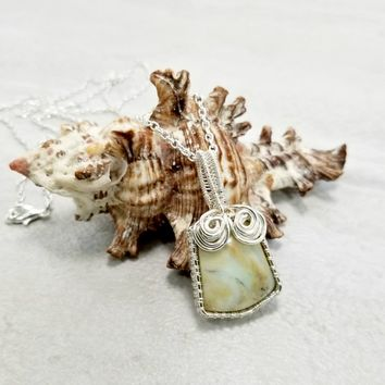 Wire Woven Pendant, Earthy Jewelry, Petrified Wood Necklace