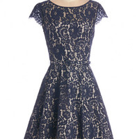 ModCloth Mid-length Cap Sleeves A-line Left in a Spin Dress