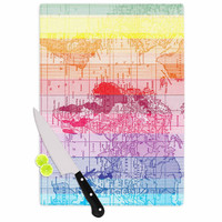 "Catherine Holcombe ""Rainbow World Map"" Multicolor Travel Cutting Board"