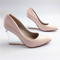 Fashion crystal wedges 2015 women's sexy pointed toe transparent high heels shoes plus size woman pumps