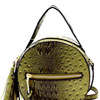 NARNI OSTRICH EMBOSSED ROUND BAG - OLIVE