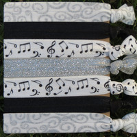 7 Pack MUSIC musical NOTE Black White Swirl Metallic Glitter Knot Hair Ties Stretch Fold Over Elastic PonyTail Holder Bracelet