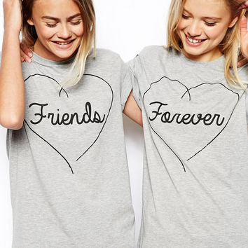 Summer New Best Friends Forever Short Sleeve T-shirt Bestie Pack Love Letter Mail T Shirt Women