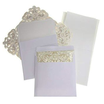 Paper Square Laser-Cut Pearlescent Scroll Swirl Invitations, Ivory, 6-1/4-Inch, 8 count