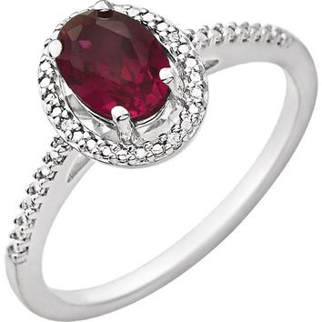 Sterling Silver Oval Lab Created Ruby & .01 CTW Diamond Halo-Style Ring