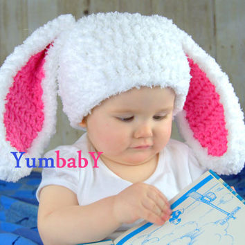 White and Pink Baby Girl Easter Bunny Rabbit Hat Floppy Ears