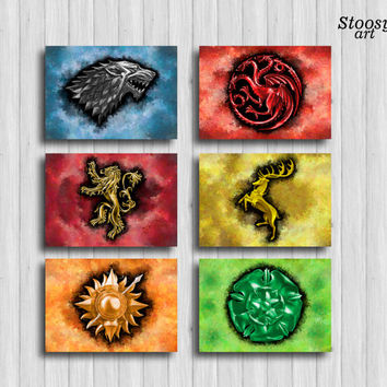 game of thrones poster set of 6 : house stark, targaryen, lannister, baratheon, martell, tyrell