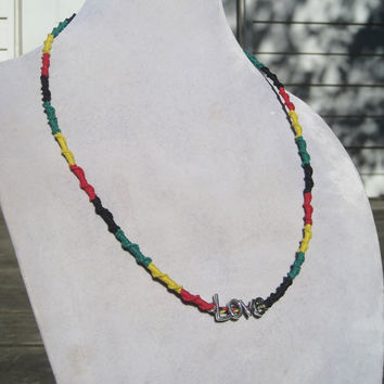 Rasta Love Charm Half Hitch Sennit Hemp Necklace