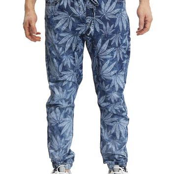 Men's Leaf Print Denim Jogger Pants JG842 - I1D