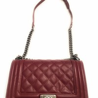 KC Luxury Designer Handbag Monogram Envelope Chain Shoulder Bag Burgundy Handbag