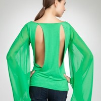 bebe Sheer Chiffon Kimono Sleeve Top Knit Tops Kelly Green-xs