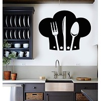 Vinyl Wall Decal Chef Hat Cutlery Restaurant Kitchen Stickers Unique Gift (522ig)