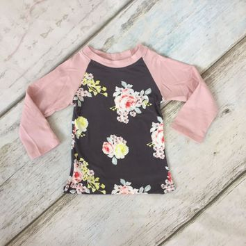 special offer fall/winter baby girls children clothes boutique cotton top t-shirt raglans long sleeve floral pink grey kids wear