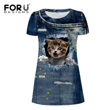 FORUDESIGNS 3d Denim Cat printing women's dresses,girls fashion short sleeves dress of women,casual mini tunic dresses vestidos