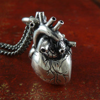 "Valentines Day Heart Jewelry Anatomical Heart Necklace Antique Silver Anatomical Heart on 32"" Gunmetal Chain"