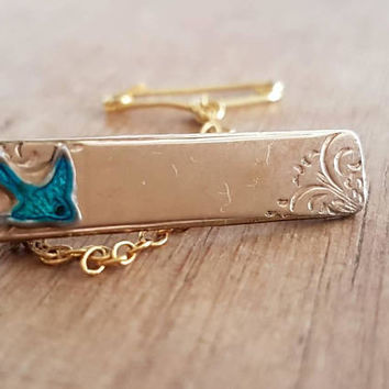Vintage Bluebird Bar Brooch Rodd 9ct Rolled Gold  Enamel  Swallow Vintage Love Birds Babies Christening