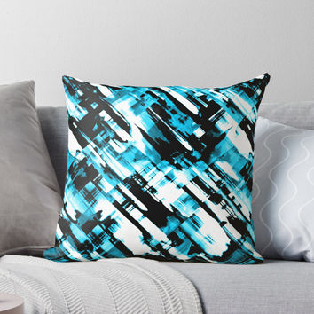 'Hot blue and black digital art G253' Throw Pillow by MEDUSA GraphicART