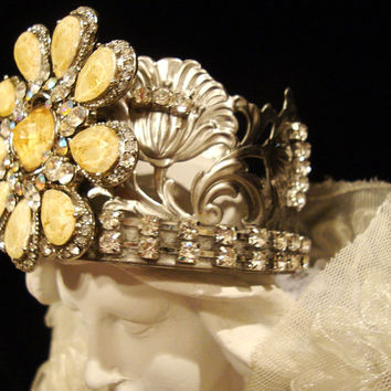OOAK Metal Crown Vintage Brooch Silver and Cream Crown For Santos Cage Doll  Catholic Statues or Crown Decor Handmade in the USA!