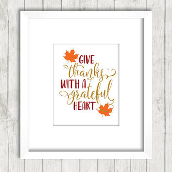Thanksgiving decor - Thanksgiving print - Autumn decor - Give thanks sign - Fall print - Fall decoration - Fall decor - Printable