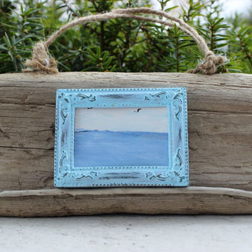 Framed SeaScape Painting on Natural Driftwood Coastal Wall Art -One of a Kind Beach decoration