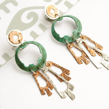 LONG QUETZAL EARRINGS by Gemagenta - Handcrafted in Silver 925 and Hammered Copper with green patina - Bohemian, Aztec, Tribal