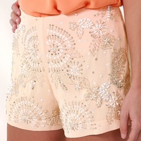 Center Of Attention Shorts: Apricot - Bottoms