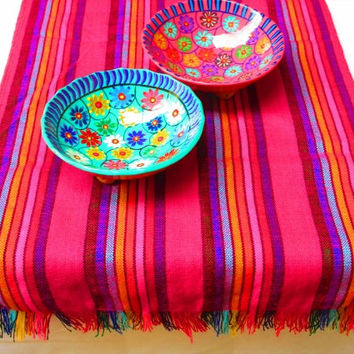 Pink tribal runner, Table cloth, Table Runner, Bohemian Decor, Bohemian Chic, Aztec, Tribal, pink with colorful stripes