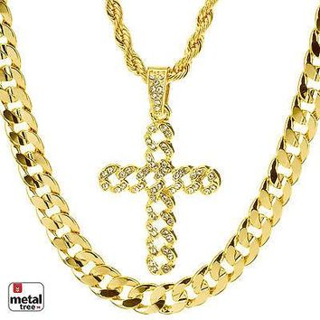 """Jewelry Kay style Men's Iced Out CROSS Pendant 22"""" Rope & 30"""" Concave Cuban Heavy Chain MHC 33 G"""