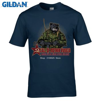 GILDAN  Call of Mother Russia T-Shirt Fashion Men's Custom Soldier Bear Animal T Shirt Summer High Quality Hipster Tee Tops