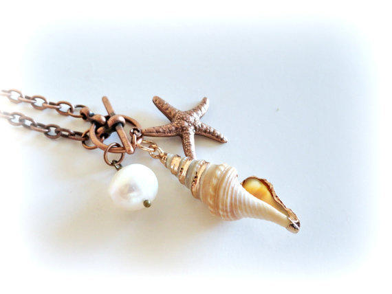 Shell & seastar, beachy Necklace-Shell pendant, copper seastar charm,freshwater pearl. gift for her