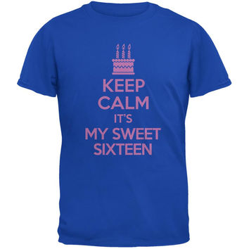 Keep Calm Sweet 16 Royal Adult T-Shirt