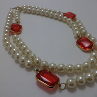 Beautiful, Pearl, Long, Red, Rhinestone, Glass Bead, Pin Up Girl, Retro, Necklace