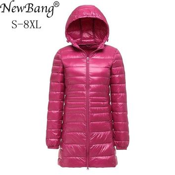 NewBang Brand 7XL 8XL Plus Women's Down Coat Ultra Light Down Jacket Women Lightweight Winter Hooded Long Down Coat
