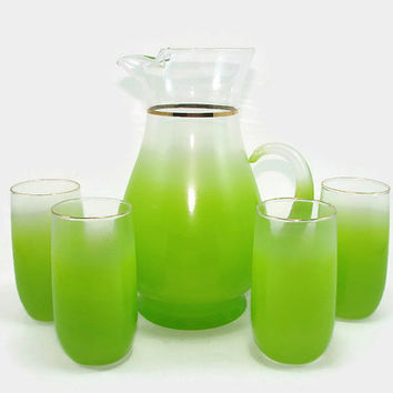 Green Blendo Pitcher and 4 Glasses Tumblers West Virginia Retro Barware Glass Serving Set