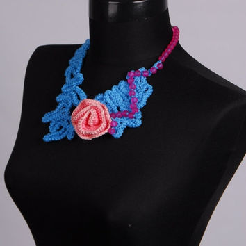 clearance sale Knit Necklace,Crochet bib,Blue Necklace,Floral necklace,Flower necklace,Crochet necklace,One Only,Unique Necklaces For Women,