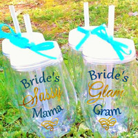 Two Bev2Go Wine Cups, Bride's mother, Brides Grandma, Wedding party gift, Custom Cups