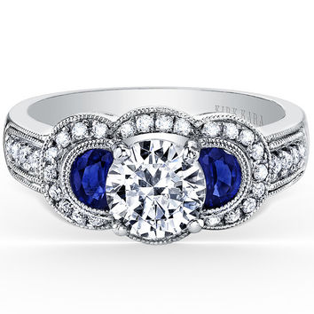 "Kirk Kara ""Charlotte"" Half Moon Cut Sapphire & Three Stone Diamond Engagement Ring"