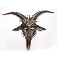 Baphomet Goat Leather Mask horsehair beard Krampus Satyr