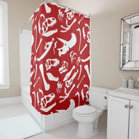 Dinosaur Bones (Red) Shower Curtain