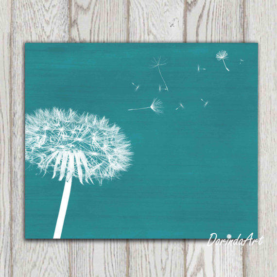 dandelion print teal home decor teal from dorindaart on etsy teal home decor decorating ideas