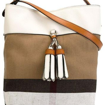 Burberry Susanna Beige White Plaid Check Canvas Leather Tote Bucket Bag Handbag
