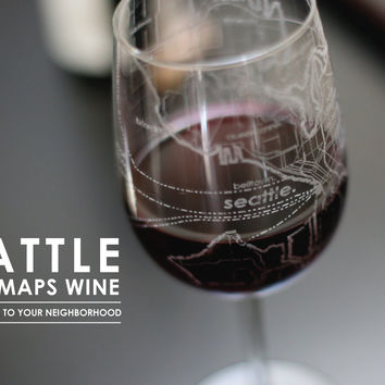 Seattle Maps Wine Glass