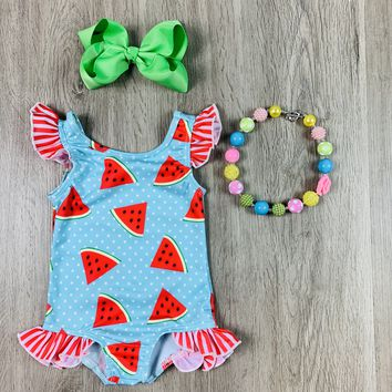RTS Summer Watermelon Polka Dot Swimsuit With Ruffles D72