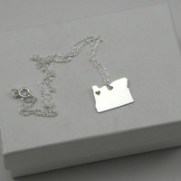 Sterling Silver State Love Heart Necklace - Oregon