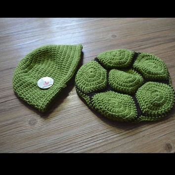 Hot selling!Lovely Baby Infant Tortoise Newborn Turtle Costume Photo Photography Prop Knit Crochet Clothes Beanie Hat Outfit