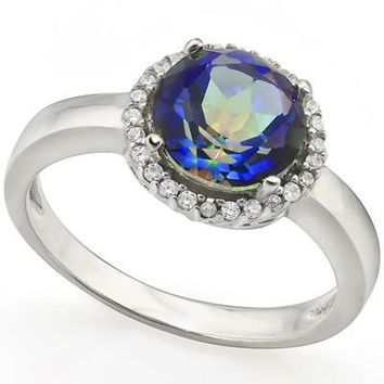 Sterling Silver Genuine Round Rainbow Mystic Topaz & Cr. White Sapphire Halo Ring